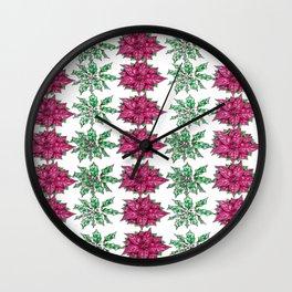 Holly Poinsettia Pattern Wall Clock