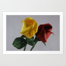 Origami Red and Yellow Roses Art Print