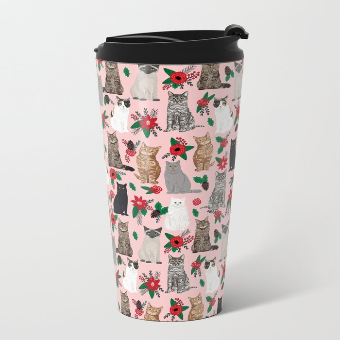 Catsmas christmas poinsettias florals cat breeds pet friendly festive holiday gifts Metal Travel Mug