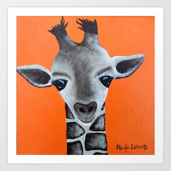 Baby Giraffe Orange Print. Animal Art animal print giraffe print kids room nursery art Art Print