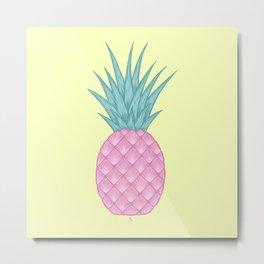 Pink pastel pineapple Metal Print