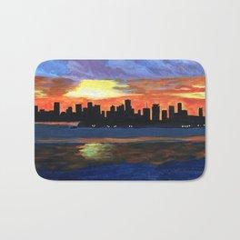 Downtown Miami Skyline Bath Mat