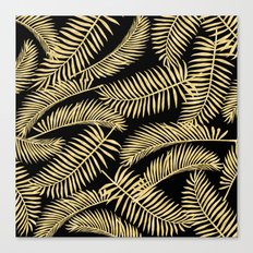 Palm Leaf Pattern Gold And Black Canvas Print