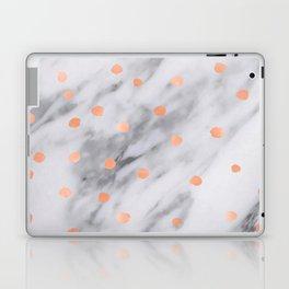 Rose Gold Pink Dots Marble Pattern Laptop & iPad Skin