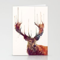 red panda Stationery Cards featuring Red Deer // Stag by Amy Hamilton