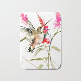 Hummingbird and Pink Flowers, sage green, olive green pink Bath Mat