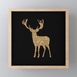 Sparkling golden deer - Wild Animal Animals Framed Mini Art Print