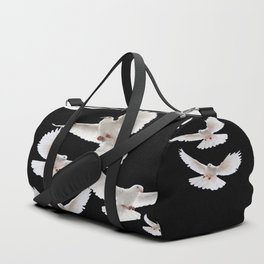 WHITE PEACE DOVES ON BLACK COLOR DESIGN ART Duffle Bag