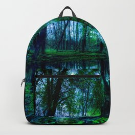Enchanted Forest Lake Green Blue Backpack