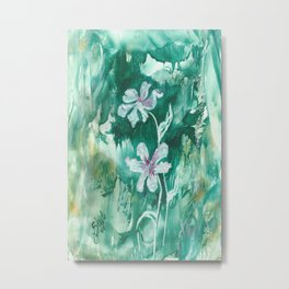 Green encaustic flowers Metal Print