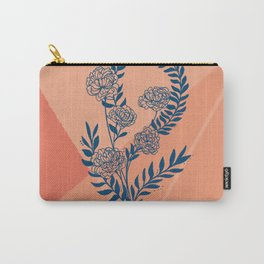 Blue peach peony floral design Carry-All Pouch