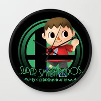 smash bros Wall Clocks featuring Villager - Super Smash Bros. by Donkey Inferno