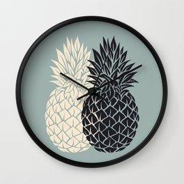 Pineapple, grey , black , tropical , hawaii , summer , fruit , pineapple print , pineapple design Wall Clock