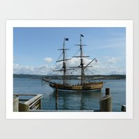 Pirate Ship in Harbor Art Print