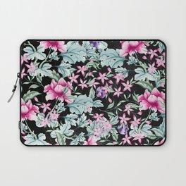 Floral Pattern 1 Black Laptop Sleeve