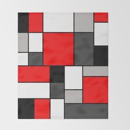 Red Black and Grey squares Throw Blanket