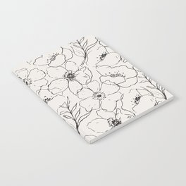 Floral Simplicity - Neutral Black Notebook