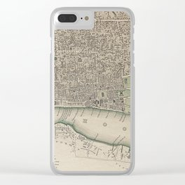 19th Century Topographical Vintage Antique Map Calcutta India Steampunk Clear iPhone Case