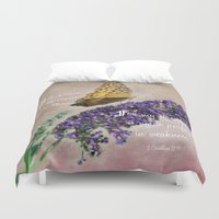 bible verse Duvet Covers featuring Amazing Grace - Verse by Anita Faye