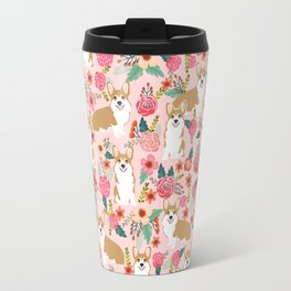 Corgi Florals - vintage corgi and florals gift gifts for dog lovers, corgi clothing, corgi decor, Travel Mug