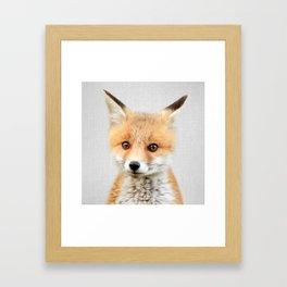 Baby Fox - Colorful Framed Art Print