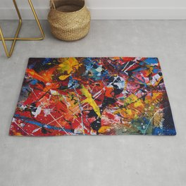 Colorful Abstract Expressionist Textured Action Painting  Rug