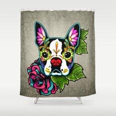 Day of the Dead Boston Terrier Sugar Skull Dog Shower Curtain