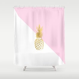 Pink white colorblock gold geometrical pineapple Shower Curtain
