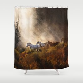 Horses in a Golden Meadow by Georgia M Baker Shower Curtain