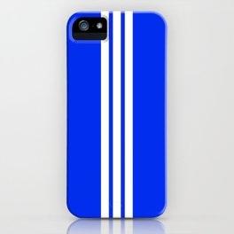 3 White Stripes on Blue iPhone Case