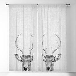 Deer 2 - Black & White Blackout Curtain