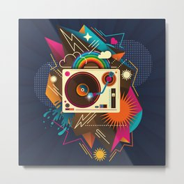 Goodtime Party Music Retro Rainbow Turntable Graphic Metal Print