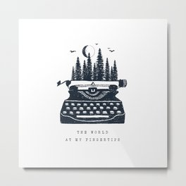 Forest And Typewriter. Motivational Quote.Creative Illustration Metal Print