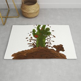 zombie hand coming out of the earth Rug