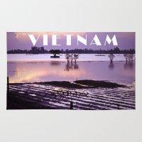 vietnam Area & Throw Rugs featuring MEKONGDELTA - VIETNAM  by CAPTAINSILVA
