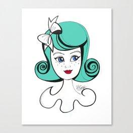 Cute Vintage Fashion Doll Sketch (Aqua hair and red lips) Canvas Print