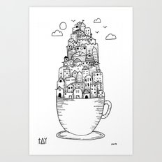 Teacup City Art Print