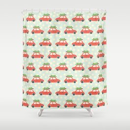 Christmas Tree Cars Red Shower Curtain