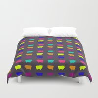 pigs Duvet Covers featuring Neon Pigs by Cara Rowlands
