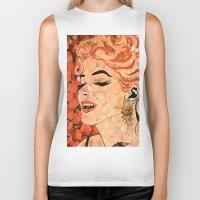 marilyn Biker Tanks featuring Marilyn  by Saundra Myles
