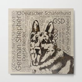 German Shepherd Dog - Wooden Texture  on Canvas Metal Print