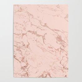 Modern rose gold glitter ombre foil blush pink marble pattern Poster