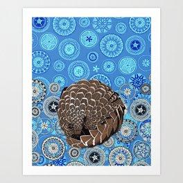pangolin mandala blue Art Print
