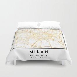 MILAN ITALY CITY STREET MAP ART Duvet Cover