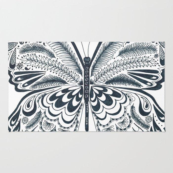Blue Butterfly Mandala Rug