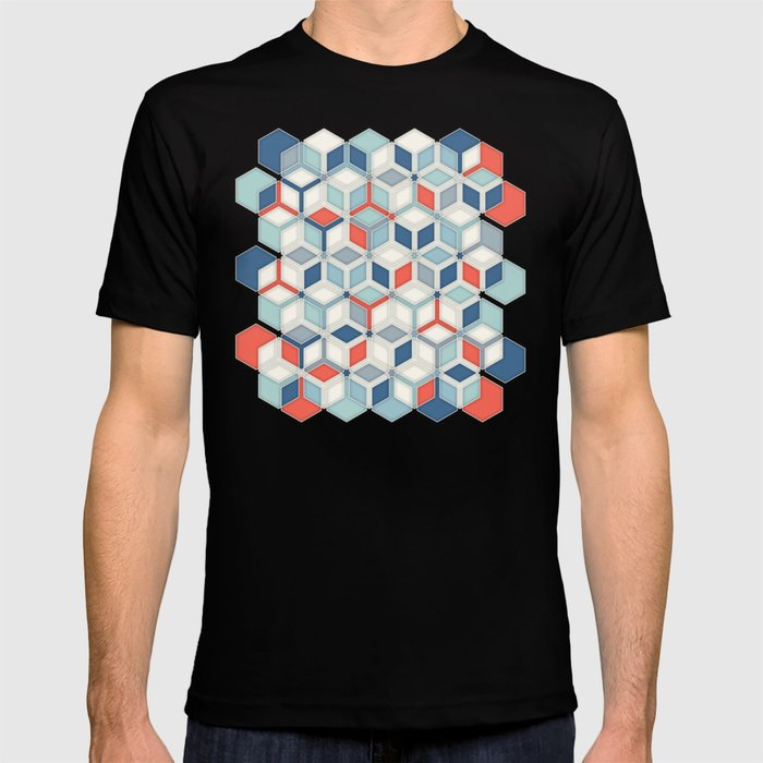 Soft Red, White & Blue Hexagon Pattern Play T-shirt