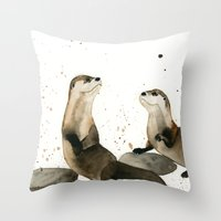 otters Throw Pillows featuring Otters by Priscilla George