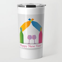 New year greetings with House formed with many colorful bottles and glasses Travel Mug