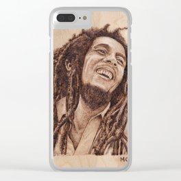 Bob 420 Marley - wood burning / pyrography drawing Clear iPhone Case
