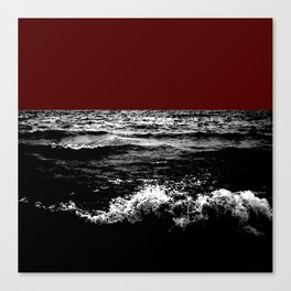 Black Wave w/Dark Red Horizon Canvas Print